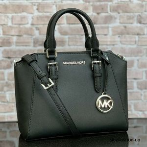 MICHAEL KORS CIARA MD LEATHER MESSENGER SATCHEL